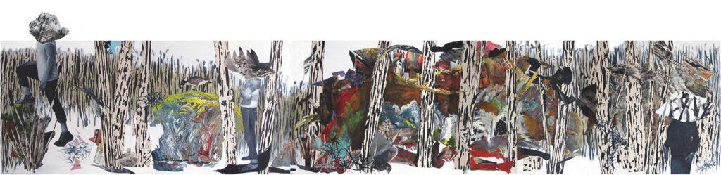 la forêt 5 sections 2017 huile/acrylique/toile 102x540cm