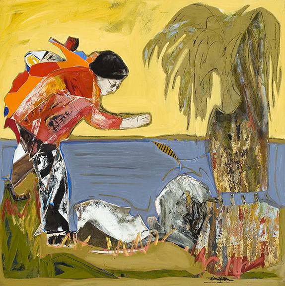 le canard 2005 huile/toile 121x121cm