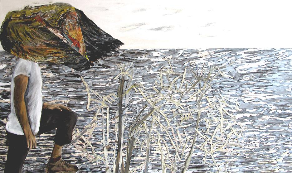 le lac 2017 huile/acrylique/toile 122x216cm