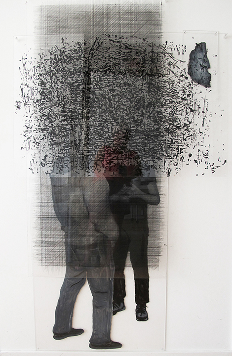 sans titre 2017 installation de 4 plexiglass gravé et peint 162x110x9cm
