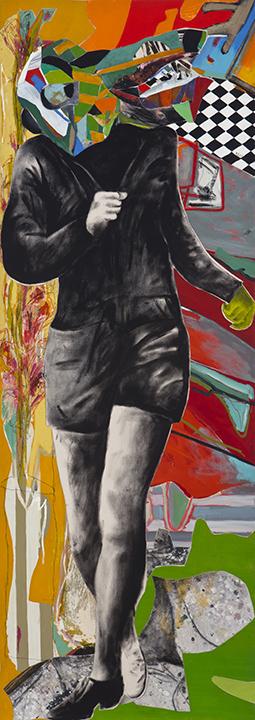 une joie 2012 huile/toile collage toile/toile213 x 76 cm